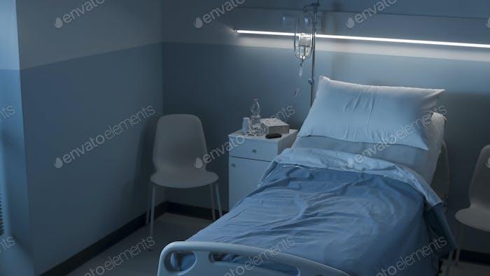 Clean hospital room interior at night