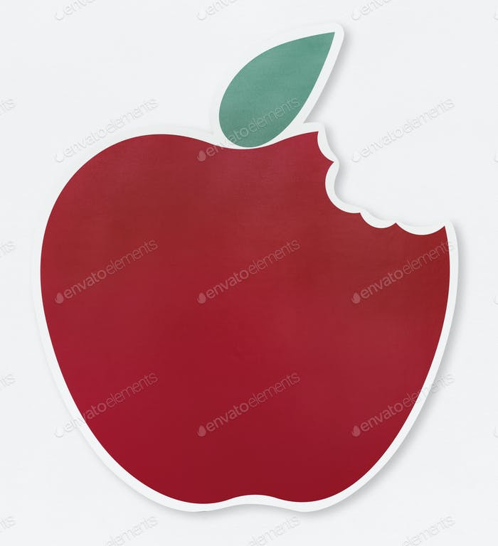Red bitten apple icon illustration