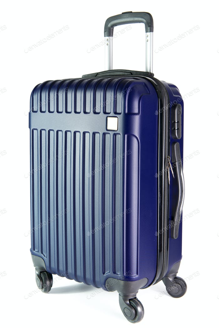 Blue travel luggage isolated on white background