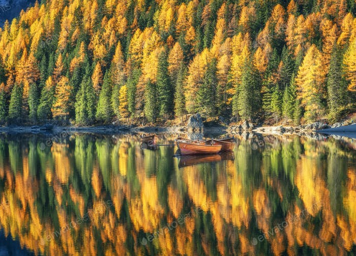 Wooden boats in Braies lake at sunrise in autumn in Dolomites