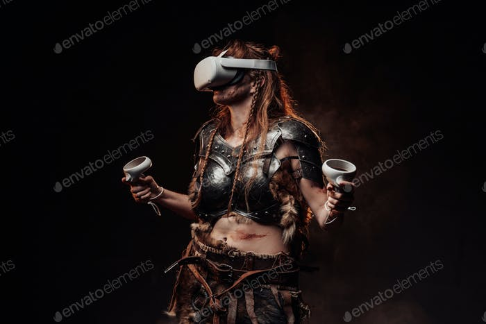Violent woman viking with virtual reality headset