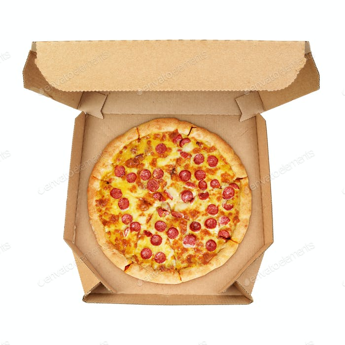 Pepperoni pizza in brown take-out box isolated on white background.
