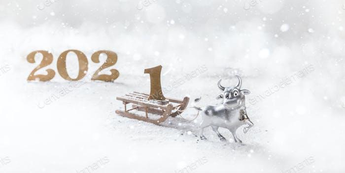 Greeting card Happy New Year metal bull.
