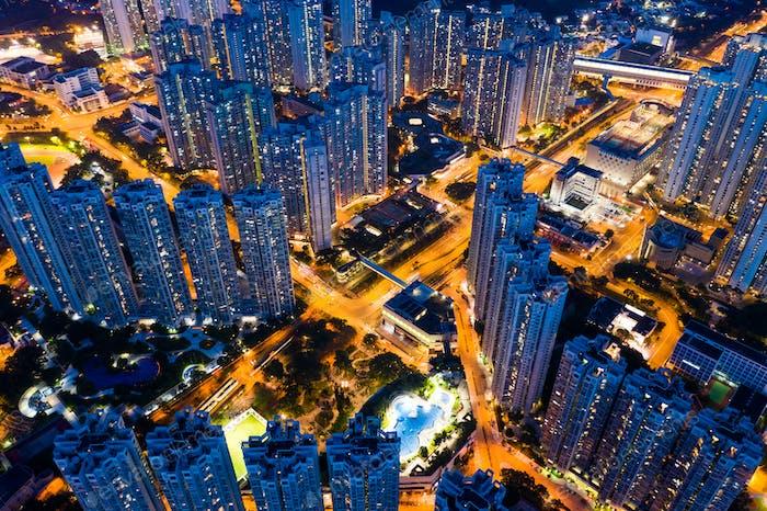Tin Shui Wai, Hong Kong, 06. September 2018፦ Blick auf die Stadt Hongkong