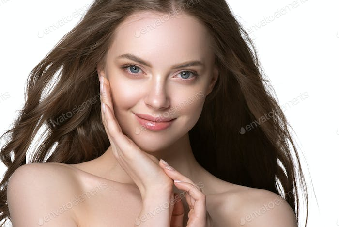 Beautiful skin and healthy hair woman clean natural makeup isolated on white cosmetic concept
