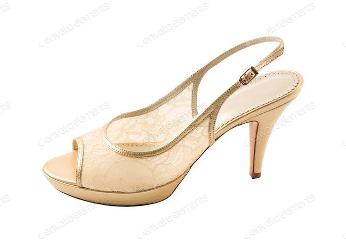 Bridal lace peep toe