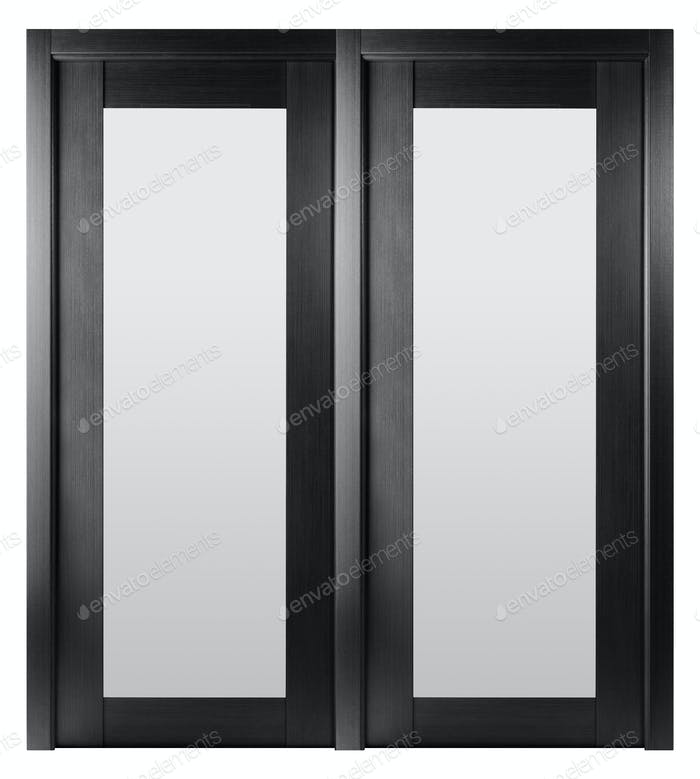 Frontal image of a closed door, isolated on white