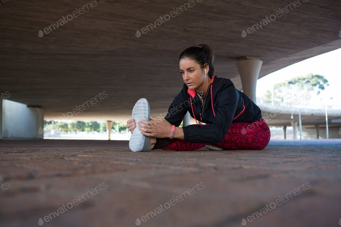 Fit woman doing warm up
