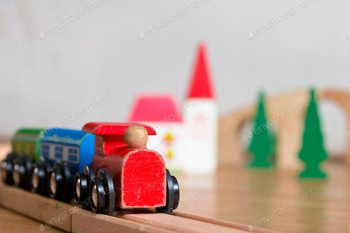 Wooden toy train scene