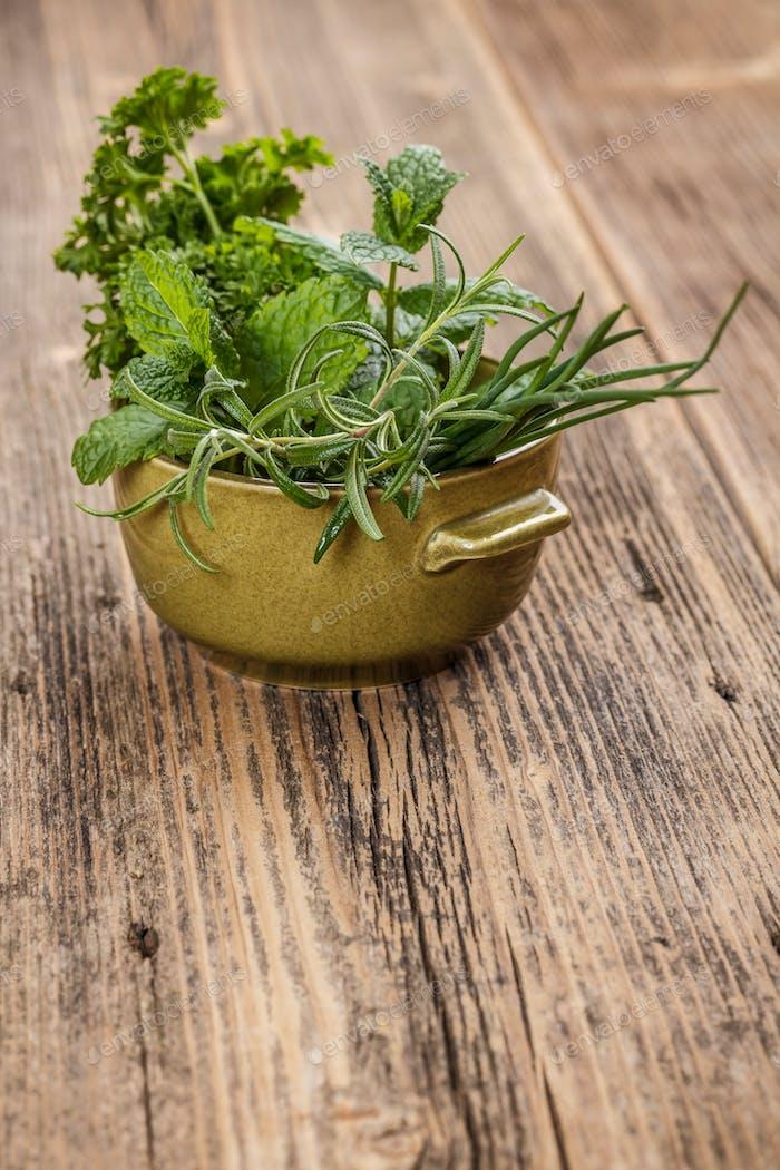 Fresh different herbs