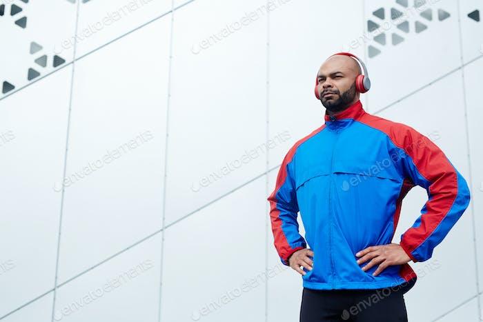 Sportsman with headphones