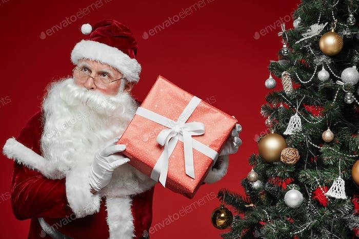 Santa with gift box