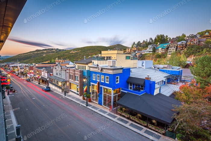 Park City, Utah, EE.UU. Town View Over Main Street