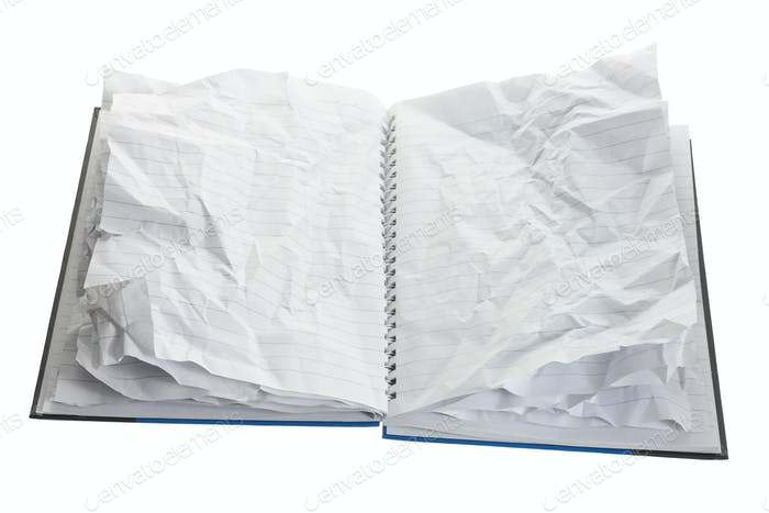 Notebook with Crumpled Pages