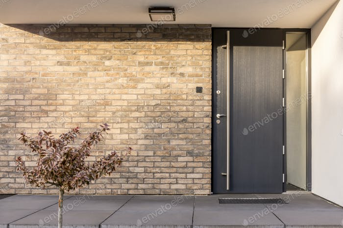 Minimalist red brick home exterior