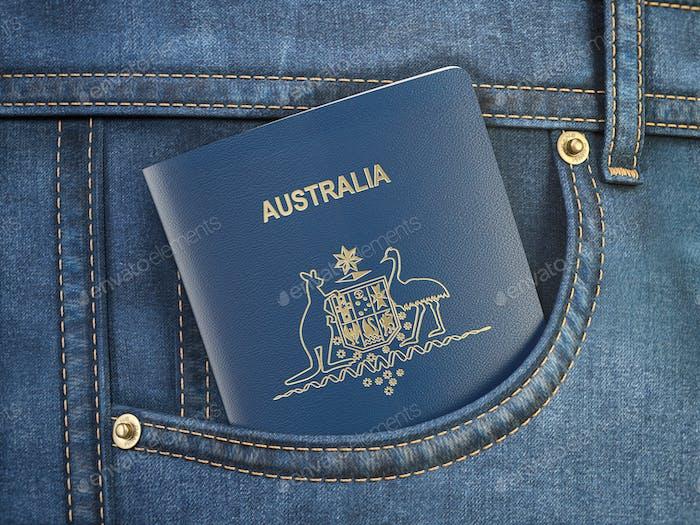 Pasaporte de Australia en pantalones vaqueros de bolsillo. Concepto de viajes, turismo, emigración y control de pasaportes.