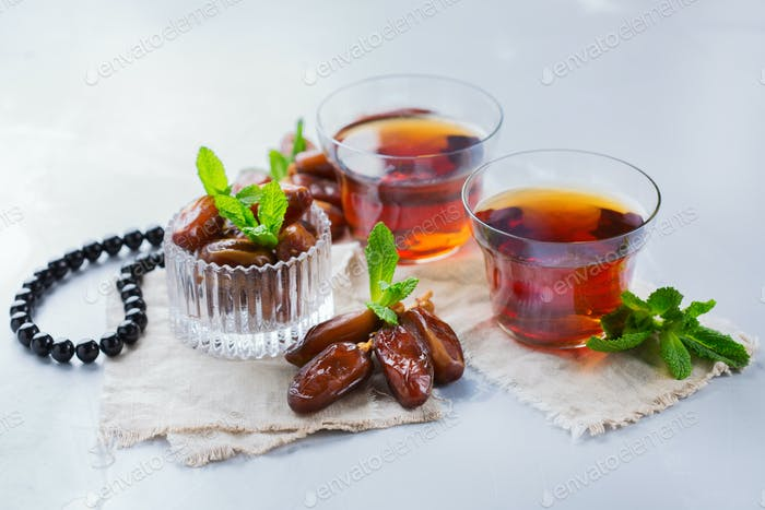 Ramadan ramazan kareem. Traditional arabic tea with mint and dates