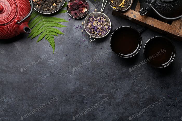 Set of herbal and fruit dry teas