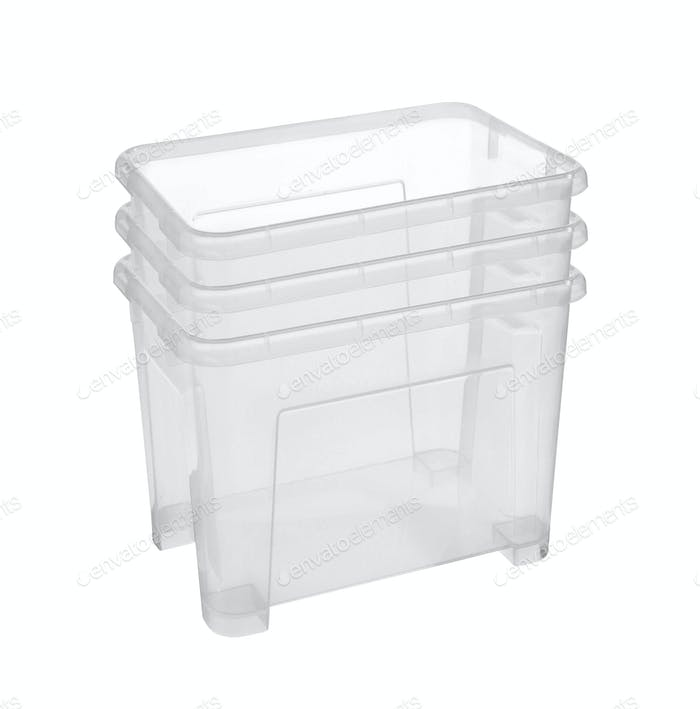 Set of plastic household baskets for storage isolated on white