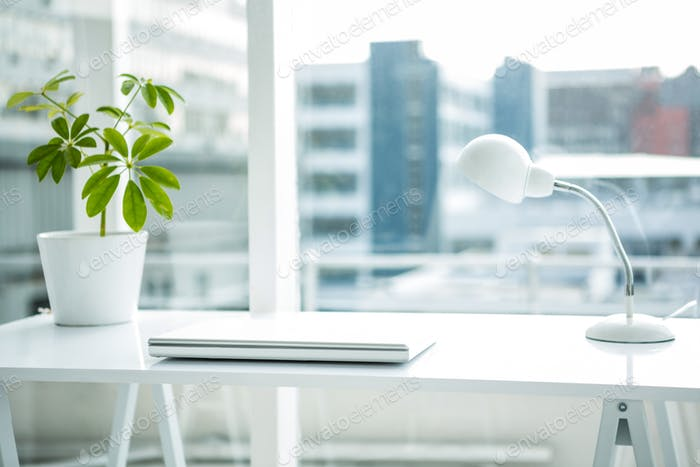 Empty desk in a office