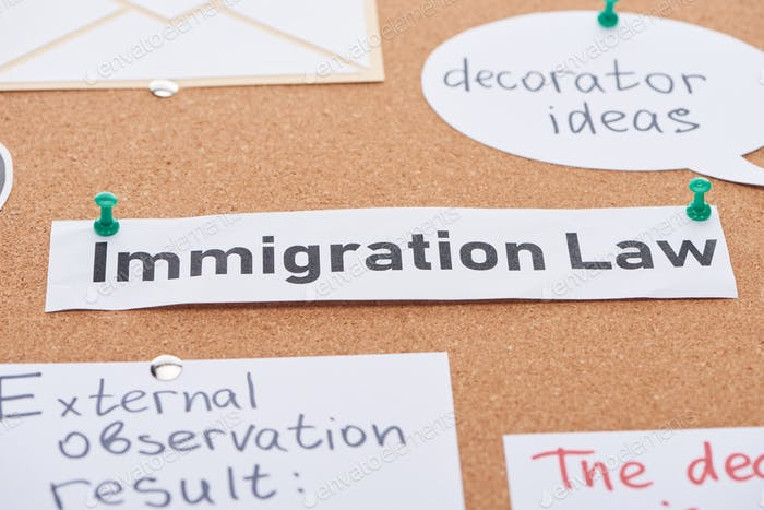Tarjetas de papel con ideas de decorador y textos de leyes de inmigración clavados en corcho.