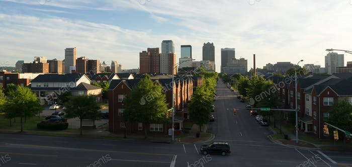 Sunset Downtown City Skyline Birmingham Alabama Carraway Blvd