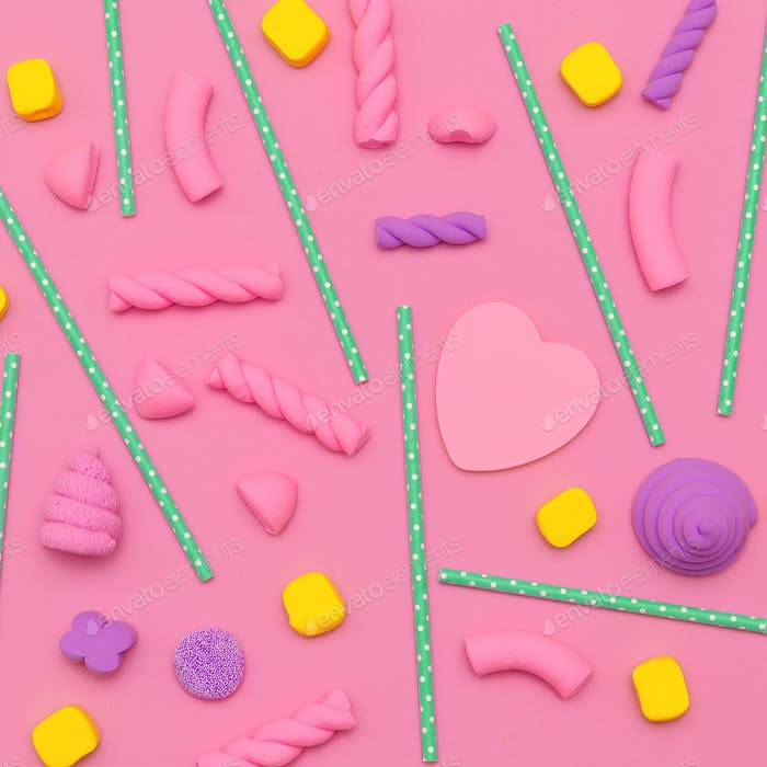 Candy background. Candy Minimal Flatlay art