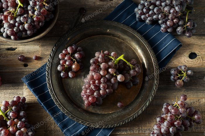 Raw Purple Organic Red Wine Grapes