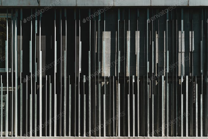 Building facade with metal stripes