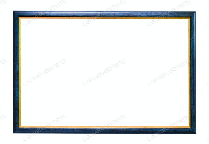 Blue wooden picture frame on white background