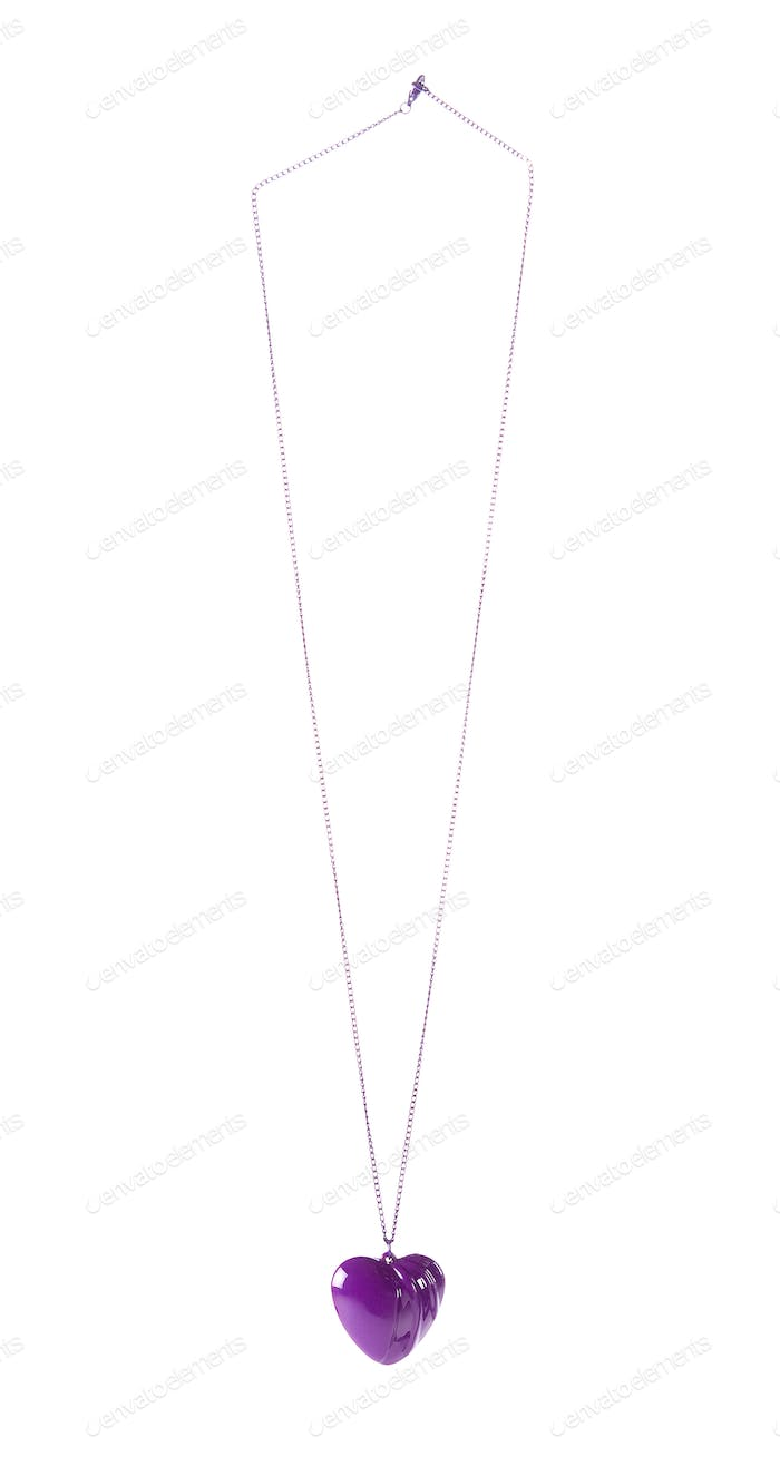 Purple heart pendant on purple chain