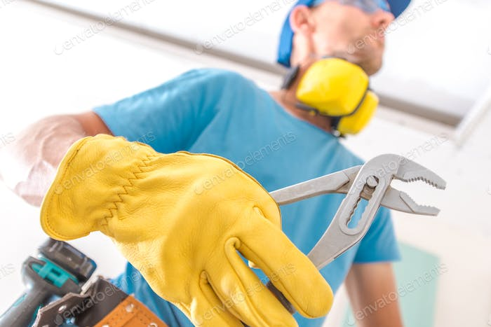 Construction Worker with Plier