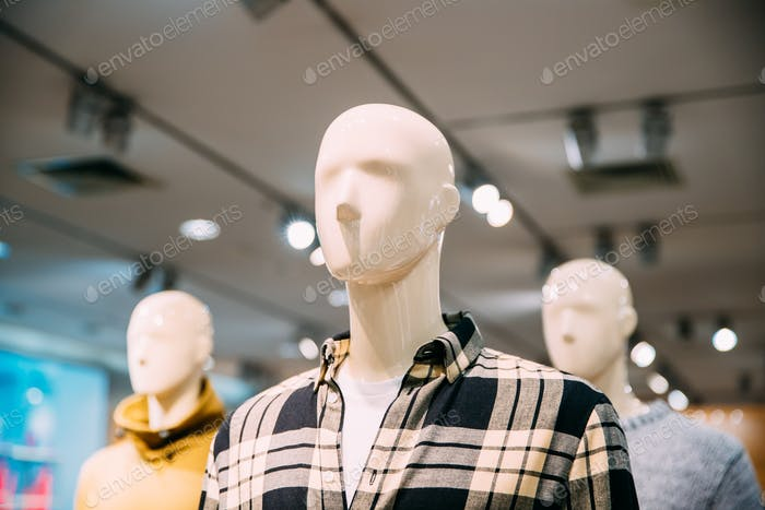 Close View Of Mannequins Dressed In Male Man Casual Clothes In S