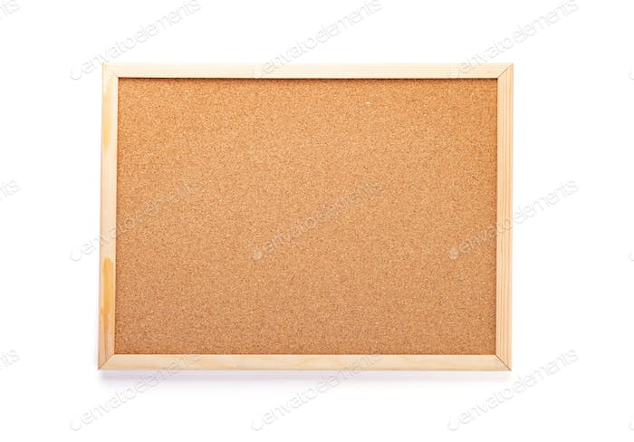 cork board on white background