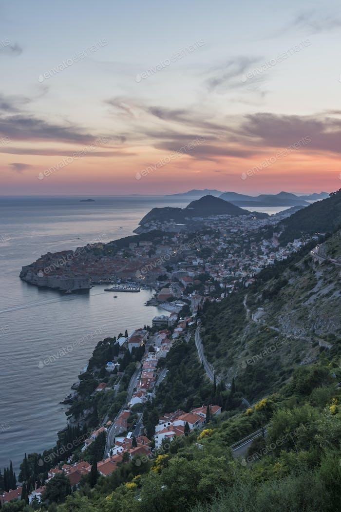 Aerial view of coastal city on hillside, Dubrovnik, Dubrovnik-Neretva, Croatia
