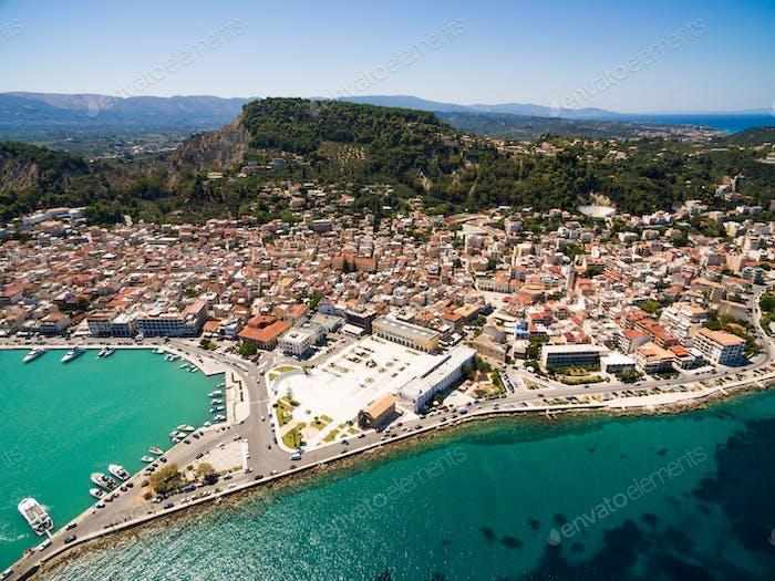 Luftaufnahme der Stadt Zakynthos auf der Insel Zante, in Griechenland
