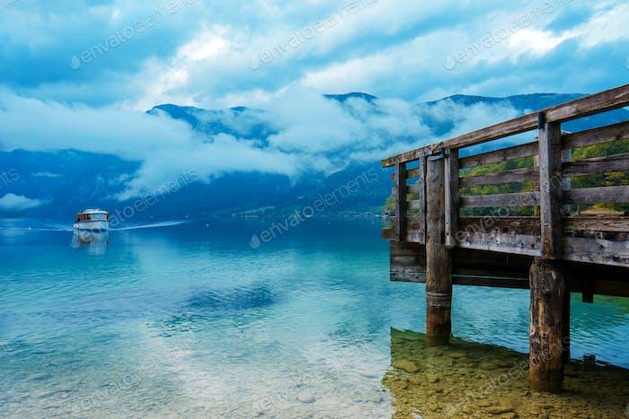 Touristic boat at beautiful Bohinj lake