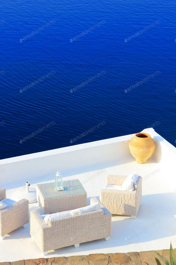 View on caldera and sea from balcony