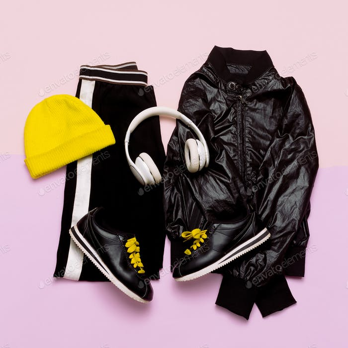 Fashion Outfit for women. Stylish black clothes and bright acces