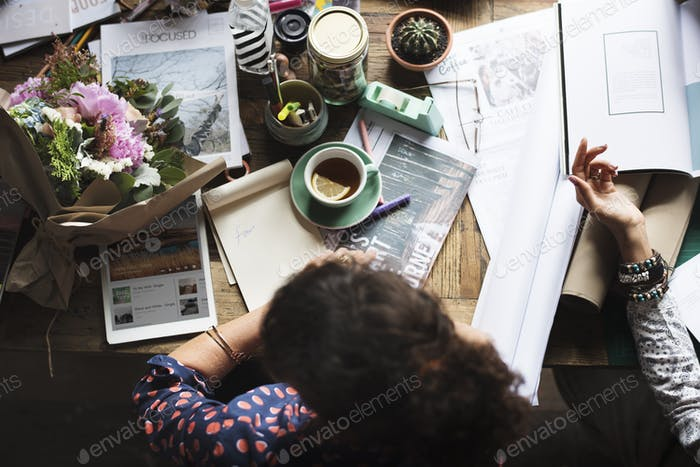 Businesswoman Sitting Working at Office