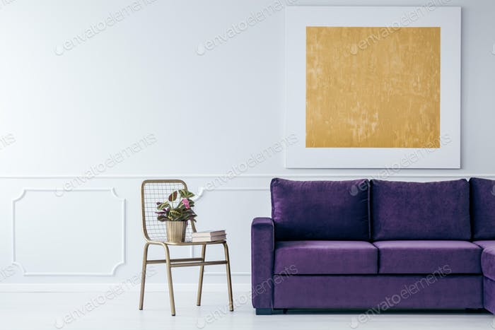 Gold and purple living room