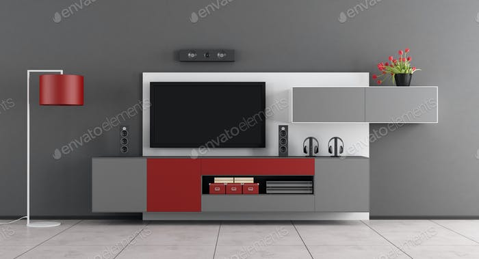 Gray and red living room with TV - 3d rendering