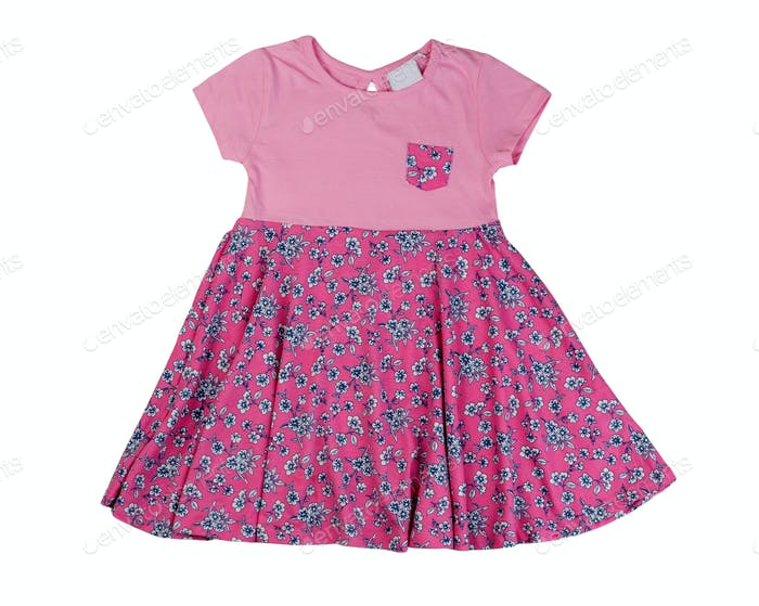 Pink baby dress, isolate