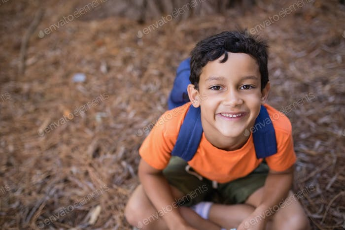 High angle portrait of boy sitting in forest