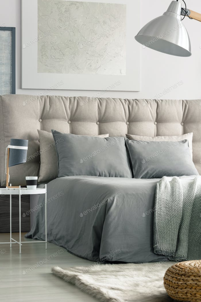 Bedroom in grey colors