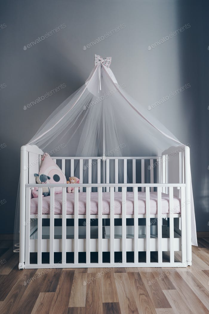 Shot of a modern grey nursery room