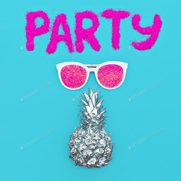 Party Beach Sunglasses Silver Pineapple Minimal art