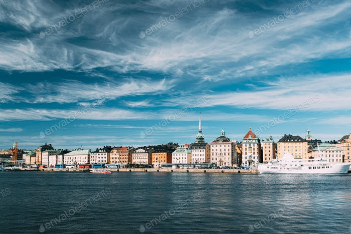 Stockholm, Sweden. Scenic Famous View Of Embankment In Old Town