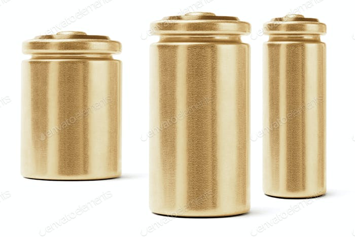 Drei goldfarbene Batterien