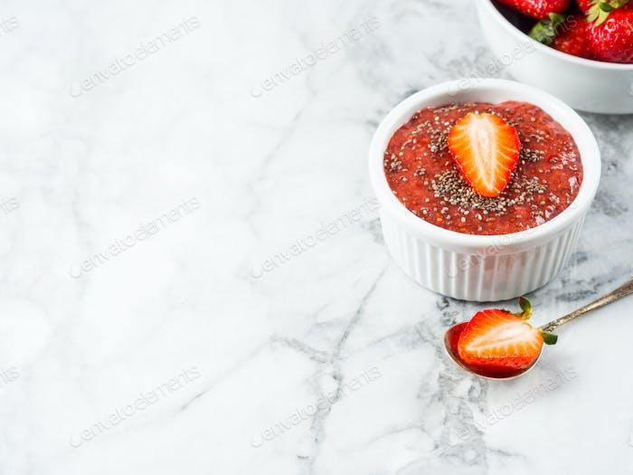 Strawberry chia jam made with chia seeds